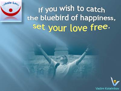 Bluebird of Happiness quotes: If you wish to catch the bluebird of happiness, set your love free - Vadim Kotelnikov at Inhale Love